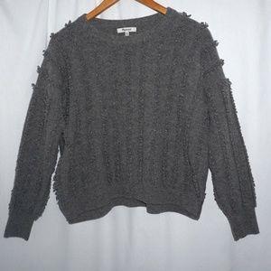 MADEWELL Merino Wool Gray Sweater  fringe stripe M